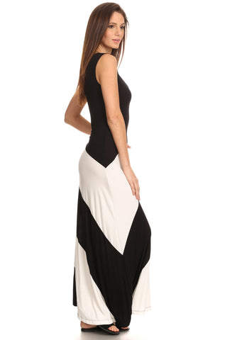 Women's Striped Sleeveless Maxi Summer Dress: BLACK/IVORY (LG)