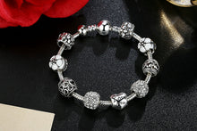 "Load image into Gallery viewer, Classic Snake Chain ""Love & Flowers"" Charm Bracelet"