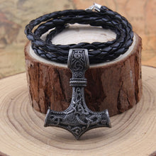 Load image into Gallery viewer, Thor's hammer mjolnir pendant viking necklace