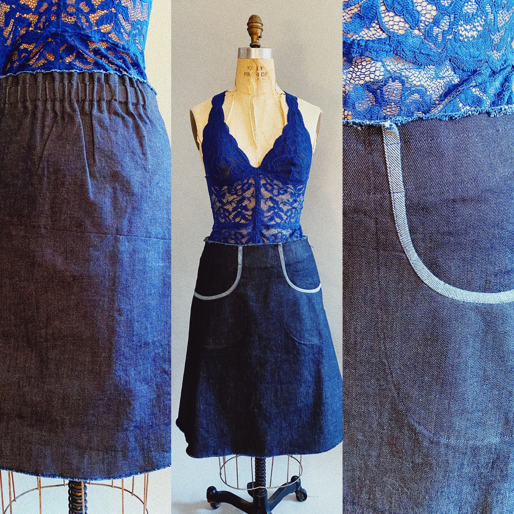 Cotton Denim Bicycle Skirt