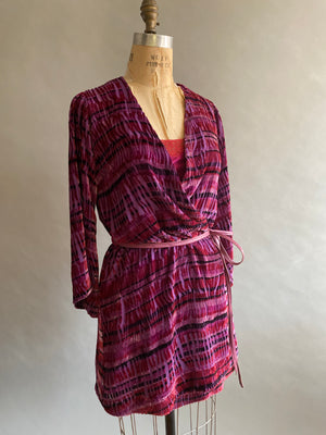Silk/Rayon Velvet Burnout Dressing Gown