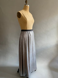 Silver Sequin Silk Chiffon Bias Skirt