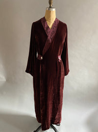 Smoking Gown in Silk Velvet with Vegan Suede Details