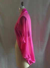 Hot Pink Polka Dot Silk Chiffon Shrug