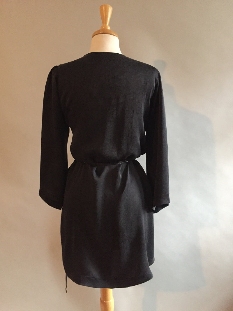 Black Silk Charmeuse Dressing Gown
