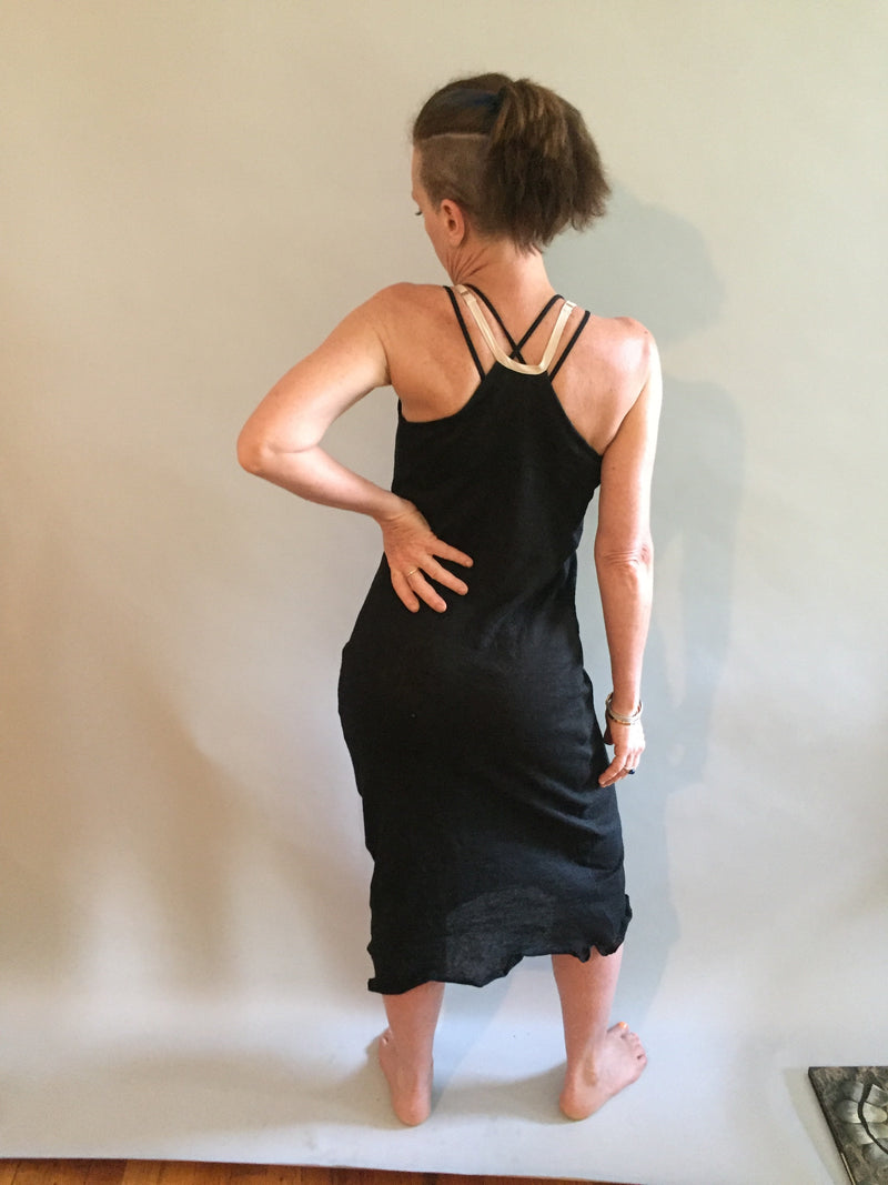 Black linen knit racerback nightgown