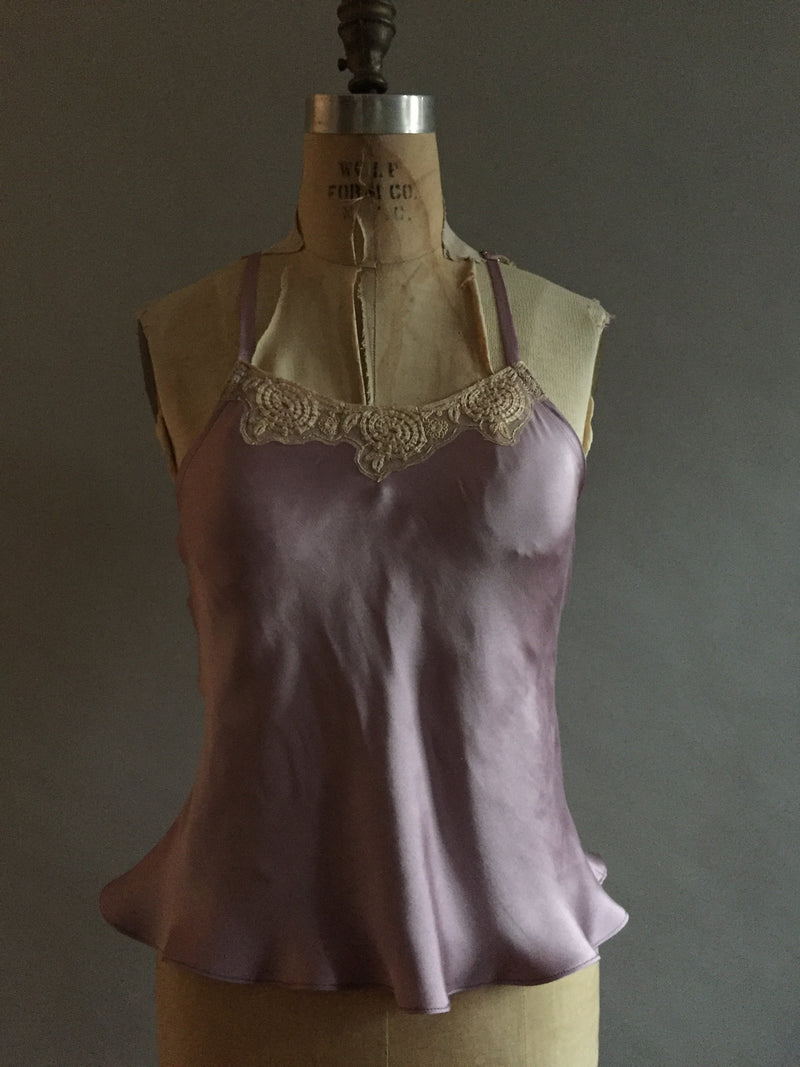 Heavyweight silk camisole with vintage lace neckline