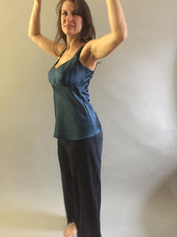 Blue Heavyweight Silk Charmeuse Camisole