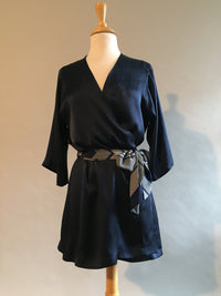 Navy Silk Charmeuse Shortie Dressing Gown