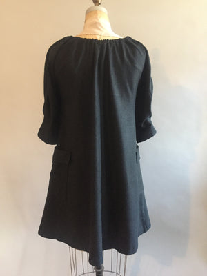 Black Raw Silk(Matka) Dress
