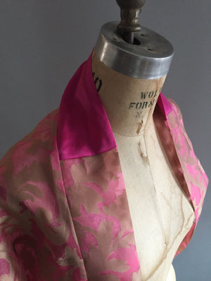 Pink/Gold Damask Silk Organza Shrug