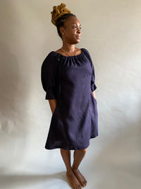 Navy Raw Silk (Matka) Dress