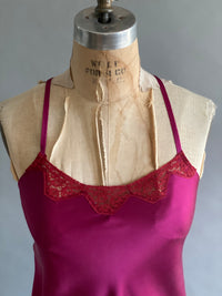 Silk Charmeuse Slip with Vintage Lace Neckline