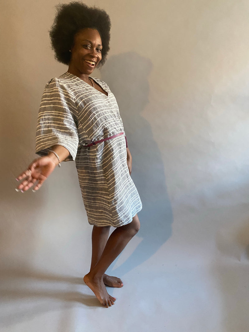 Striped Linen Shortie Robe
