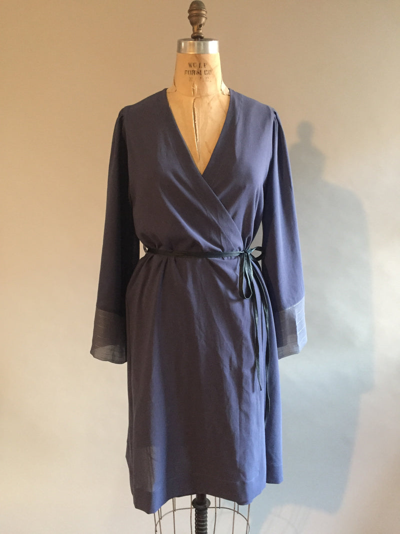 Swiss cotton dressing gown with silk chiffon cuffs