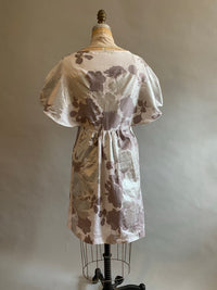 Cotton Sateen metallic flower print batwing dress