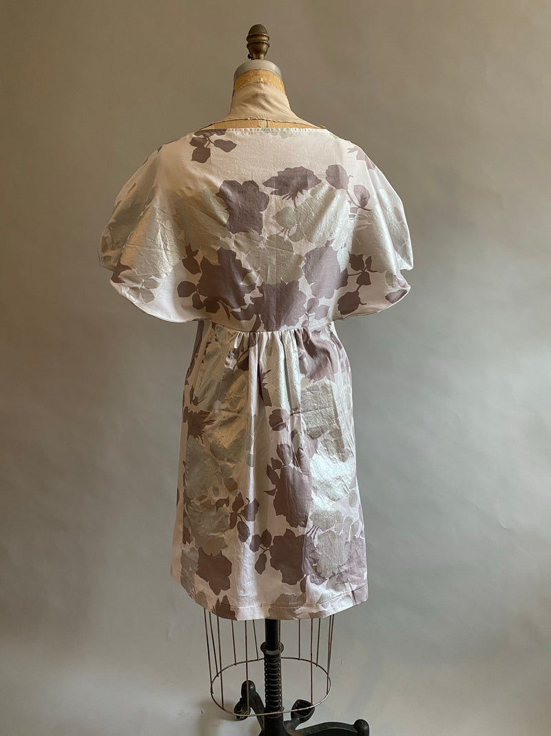 Pieces on SALE Cotton Sateen metallic flower print Angie dress