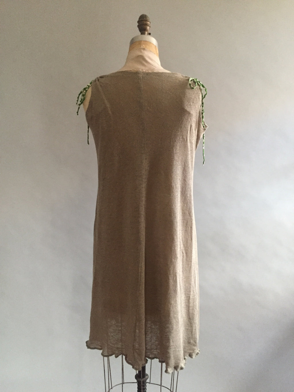 Khaki Green Linen Knit Nightie