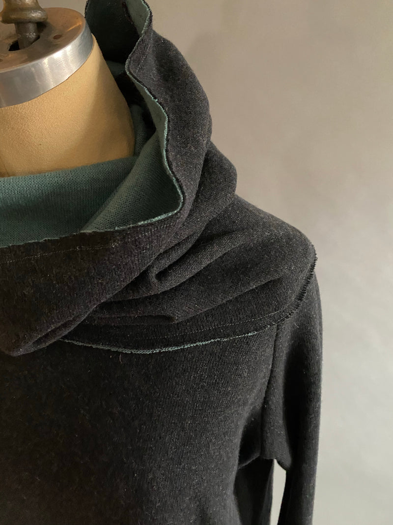Jade/Charcoal Italian Wool Doublefaced Cowlneck Sweater