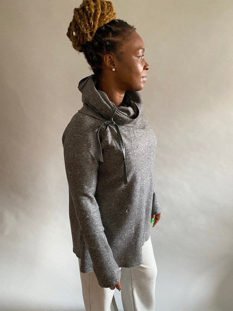 Gray boiled wool cowlneck sweater