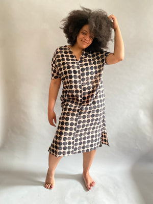 Geometric Circle Cotton Voile Caftan