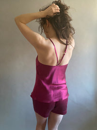 Silk Charmeuse Camisole with Vintage Lace Neckline