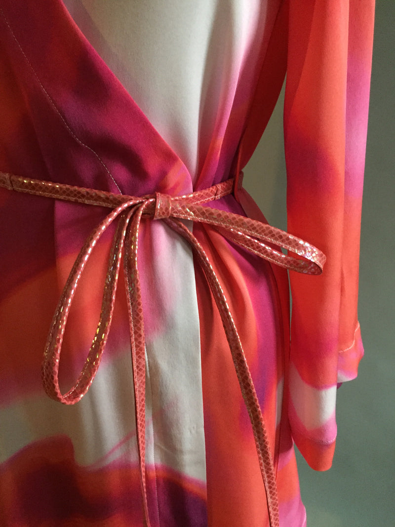 Pink Splash Print Silk Georgette Dressing Gown