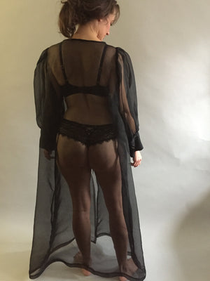 Black Silk Organza Peignoir