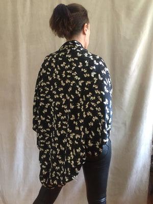 Silk charmeuse print shrug