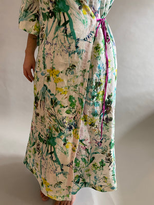 Floral Print Linen Dressing Gown