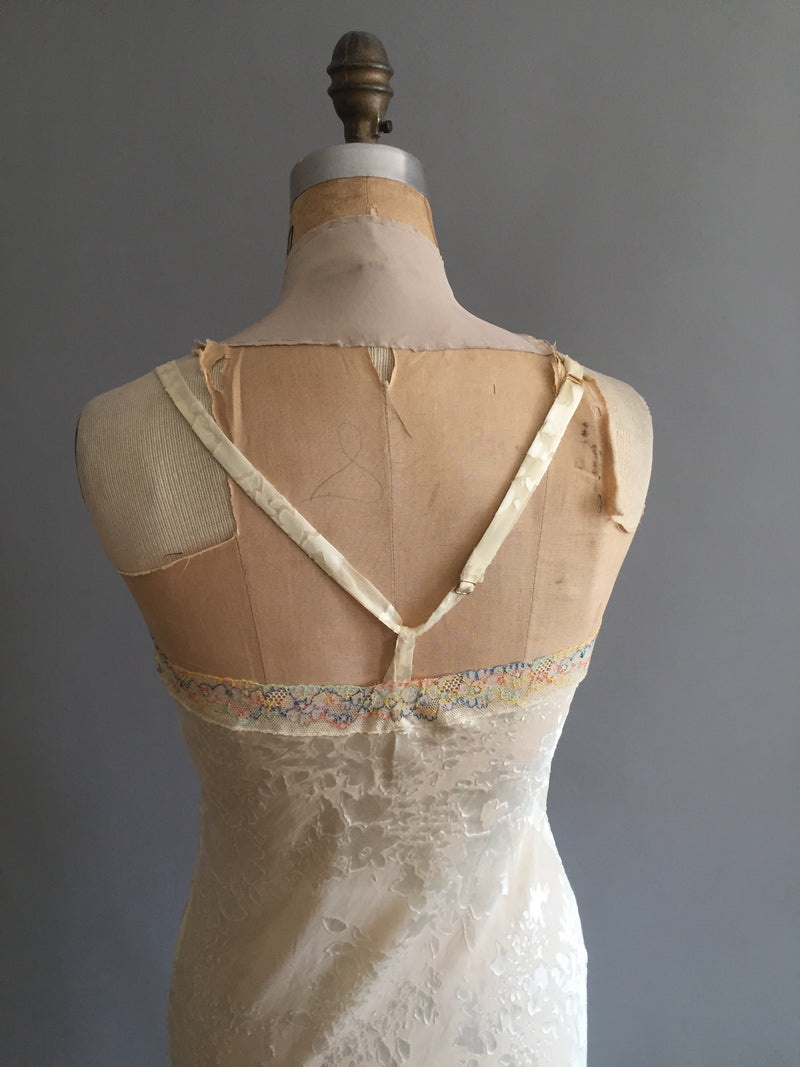 Cream silk chiffon burnout slip/nightgown