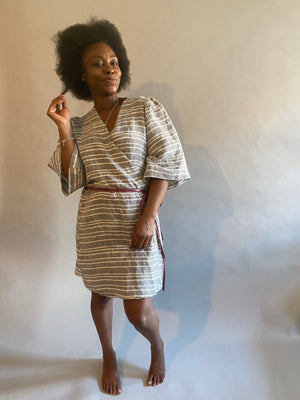 Pieces on SALE Striped Linen Shortie Robe