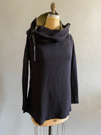 Black/Olive Italian Doublefaced Wool Knit Cowlneck Sweater