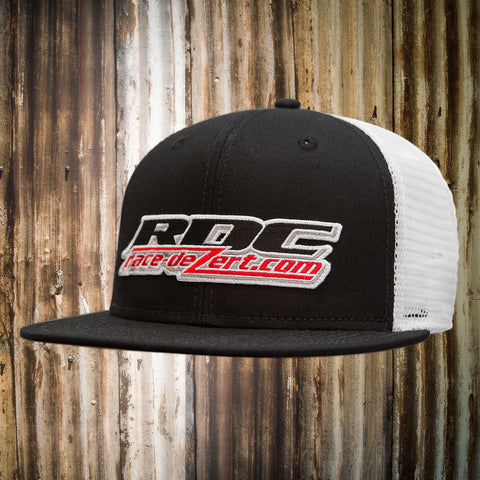 RDC - SNAP BACK W/PATCH LOGO Hat (Black Visor-Crown / White Mesh Back)