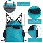 Blue Drawstring Backpack with waterproof Wet Stuff Compartment Water Bottle Pockets