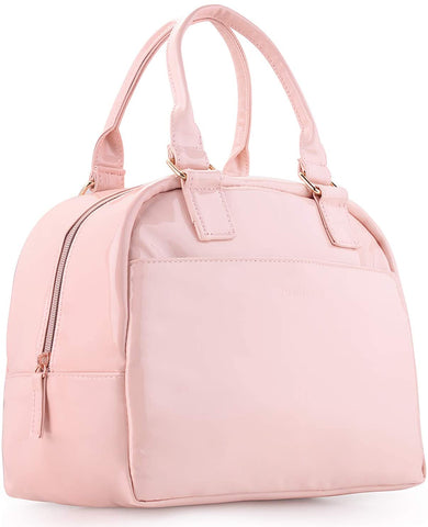 pink leather waterproof insulated lunch bag