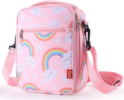 kids insulated lunch box - cute pink rainbow