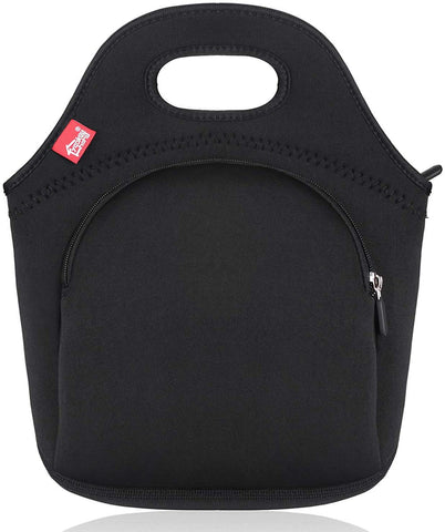 Insulated Lunch Bag - Small -Black with pocket