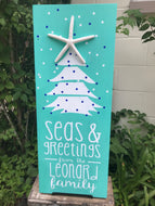 Seas & Greetings Holiday Beach Personalized Sign