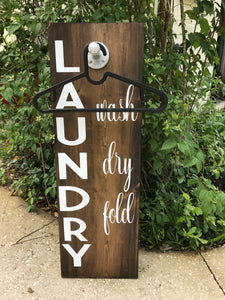 Laundry Room Clothes Hanger Sign