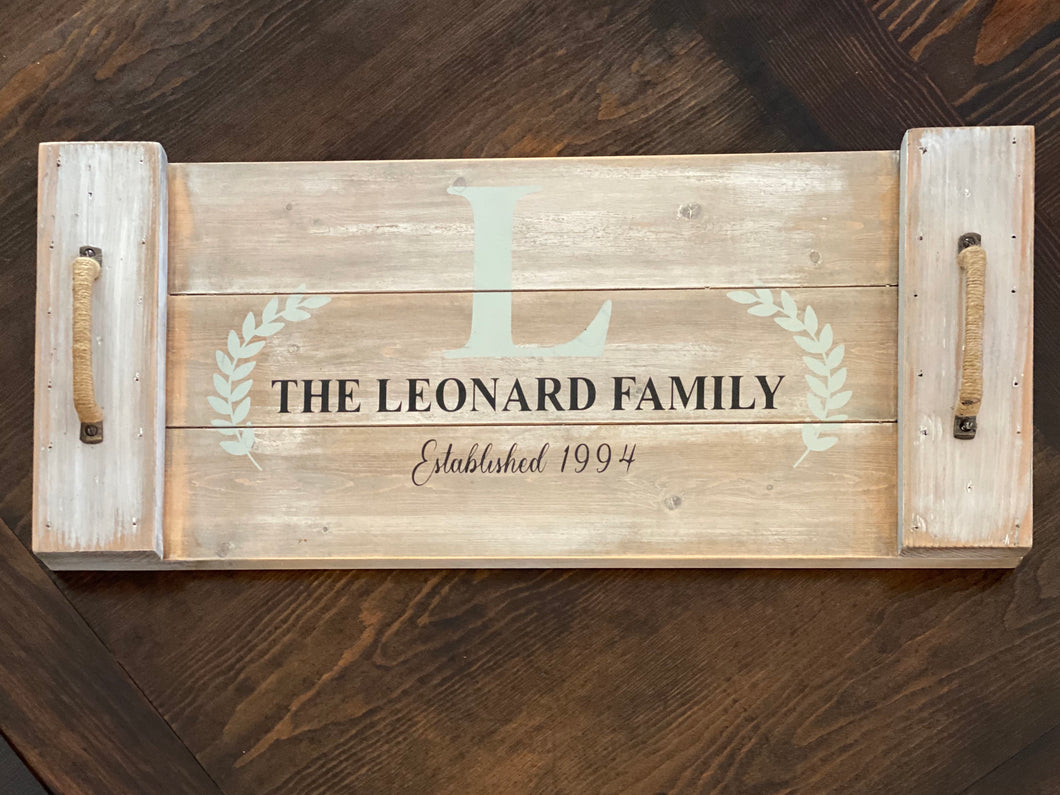 Family Name Tray with Handles