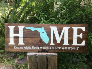 HOME Wood Sign with Coordinates