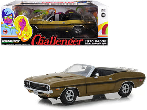 1:18 1970 Dodge Challenger R/T Convertible -- Metallic Gold w/Black Stripes -- Greenlight