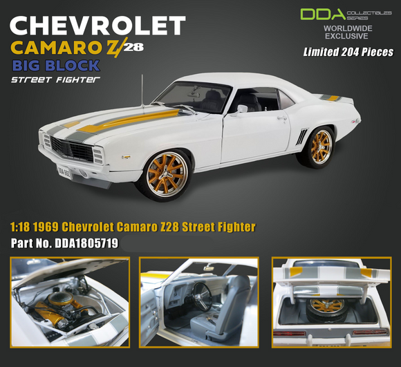1:18 1969 Chevrolet Camaro Z28 -- Street Fighter White -- DDA/ACME
