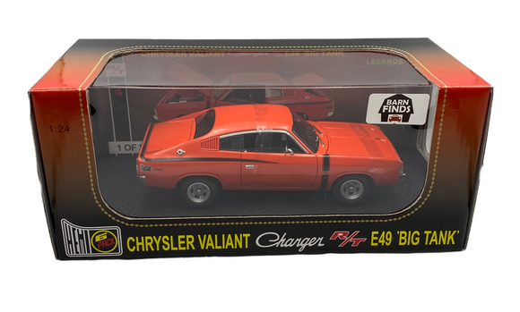 1:24 1971 E49 R/T Valiant Charger -- Hemi Orange -- OzLegends Barn Find Series