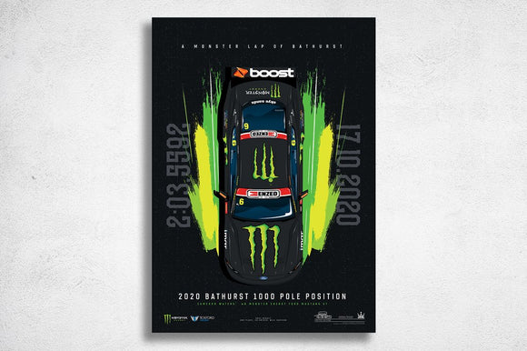 Cameron Waters 2020 Bathurst 1000 Pole --  Limited Edition Illustrated Print