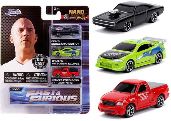 Fast & Furious -- Jada Nano Set -- Dom's Charger, Brian's Eclipse & F-150 Lightning