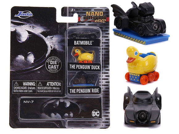 Batman -- Jada Nano Set -- Batmobile, Penguin Duck & Penguin Ride