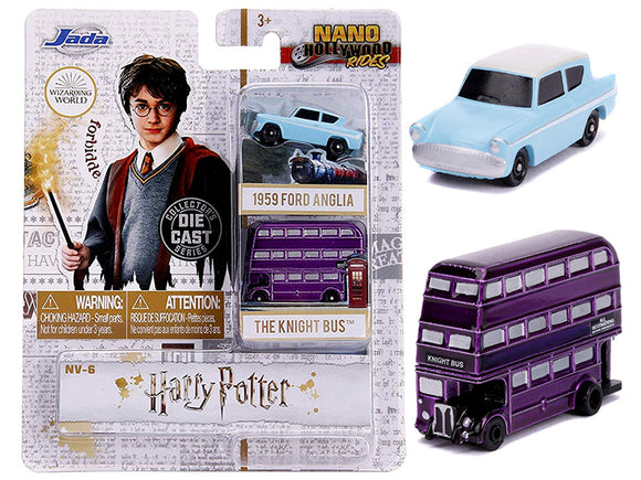 Harry Potter -- Jada Nano Set -- 1959 Ford Anglia & The Knight Bus