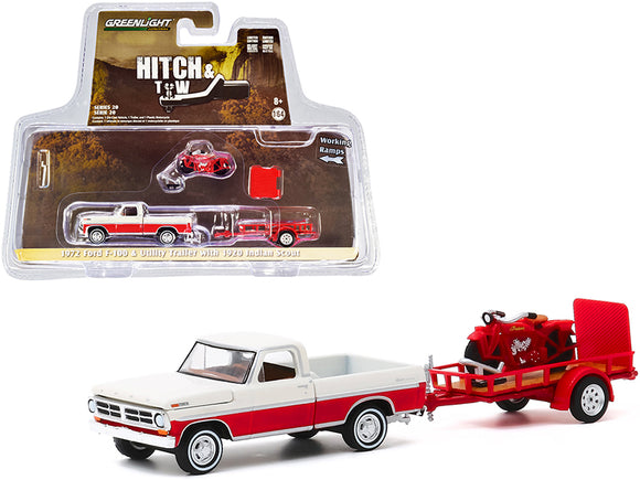 1:64 Hitch & Tow -- 1972 Ford F-100 Pickup Truck & Trailer with 1920 Indian Scout Motorcycle
